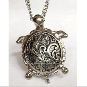 "Jewelry - BIG 2"" Silver Sea Life Turtle Necklace 21"" Island"